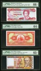 Bahamas Central Bank of the Bahamas 3 Dollars 1974 (ND 1984) Pick 44a PMG Gem Uncirculated 66 EPQ. Peru Banco Central De Reserva Del Peru 10 Soles; 5,...