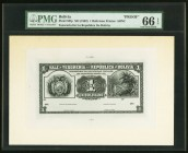 Bolivia Tesoreria de la Republica 1 Boliviano ND (1902) Pick 92fp Proof PMG Gem Uncirculated 66 EPQ.   HID09801242017