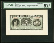 Bolivia Banco Mercantil 1 Boliviano 1906-11 Pick S171fp Proof PMG Superb Gem Unc 67 EPQ.   HID09801242017