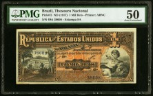 Brazil Thesouro Nacional 1 Mil Reis ND (1917) Pick 5 PMG About Uncirculated 50.   HID09801242017