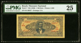 Brazil Thesouro Nacional 1 Mil Reis ND (1920) Pick 7 PMG Very Fine 25.   HID09801242017