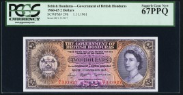 British Honduras Government of British Honduras 2 Dollars 1.11.1961 Pick 29b PCGS Superb Gem New 67PPQ.   HID09801242017