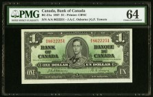 Canada Bank of Canada 1 Dollars 2.1.1937 BC-21a PMG Choice Uncirculated 64.   HID09801242017