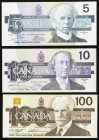 Canada Bank of Canada 5; 10; 100 Dollars 1986; 1989; 1988 BC-56; BC-57; BC-60 Three Examples Crisp Uncirculated.   HID09801242017