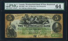 Canada Moncton, NB- Westmoreland Bank 5 Dollars 1861 Ch.# 800-12-06R PMG Choice Uncirculated 64. Toned.  HID09801242017