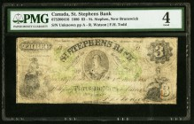 Canada St. Stephen, NB- St. Stephens Bank 3 Dollars 1.3.1880 Ch.# 675-20-04-16 PMG Good 4. Tape repairs; discoloration.  HID09801242017