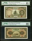 China Bank of Communications 5 Yuan 1935; 1941 Pick 154a; 157 Two Examples PMG Gem Uncirculated 65 EPQ; Gem Uncirculated 66 EPQ.   HID09801242017