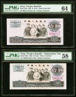 China People's Bank of China 10 Yuan 1965 Pick 879b; 879a* Two Examples PMG Choice Uncirculated 64; Choice About Unc 58. The second example is a Repla...