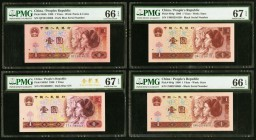 China People's Republic 1 Yuan 1990; 1980; 1996 (2) Pick 884b; 884bf; 884g (2) Four Examples PMG Gem Uncirculated 66 EPQ (2); Superb Gem Unc 67 EPQ (2...