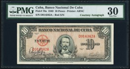 "Cuba Banco Nacional de Cuba 10 Pesos 1949 Pick 79a ""Courtesy Autograph"" PMG Very Fine 30. Autographed in exile by Felipe Pazos Roque, President of the..."