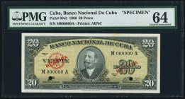 Cuba Banco Nacional de Cuba 20 Pesos 1960 Pick 80s3 Specimen PMG Choice Uncirculated 64. Two POCs.  HID09801242017