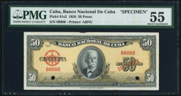 Cuba Banco Nacional de Cuba 50 Pesos 1958 Pick 81s1 Specimen PMG About Uncirculated 55. Two POCs.  HID09801242017