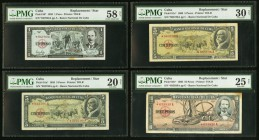 Four Replacements from Banco Nacional de Cuba, PMG Graded. 1 Peso 1959 Pick 90* PMG Choice About Unc 58 NET, stain. 5 Pesos 1958; 1960 Pick 91c* (2) P...