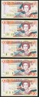 East Caribbean States East Caribbean Central Bank 20 Dollars ND (1993) Pick 28d; 28k; 28l; 28u; 28v Five Examples Choice Crisp Uncirculated. Pick 28d ...