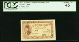 Egypt Egyptian Government 5 piastres 1940 Pick 165a PCGS Extremely Fine 45.   HID09801242017
