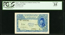 Egypt Egyptian Government 10 Piastres 1940 Pick 168a PCGS Very Fine 35.   HID09801242017