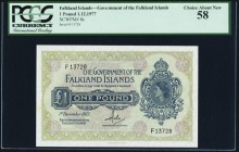 Falkland Islands Government of the Falkland Islands 1 Pound 1.12.1977 Pick 8c PCGS Choice About New 58.   HID09801242017