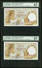 France Banque de France 100 Francs 9.1.1941 Pick 94 Two Consecutive Examples PMG Superb Gem Unc 67 EPQ.   HID09801242017