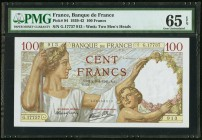 France Banque de France 100 Francs 9.1.1941 Pick 94 three Consecutive Examples PMG Gem Uncirculated 66 EPQ; Gem Uncirculated 65 EPQ (2).   HID09801242...