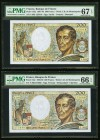 France Banque de France 200 Francs 1981-86; 1988-89 Pick 155a; 155c Two Examples PMG Superb Gem Unc 67 EPQ; Gem Uncirculated 66 EPQ.   HID09801242017