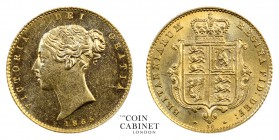 BRITISH COINS. Victoria, 1837-1901. Gold Half Sovereign, 1865, London. 4.00 g. 19.3 mm. Mintage: 1,834,750. Marsh 435, S.3860. Die number 38. Striking...