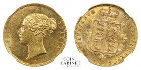 BRITISH COINS. Victoria, 1837-1901. Gold Half Sovereign, 1873, London. NGCᅠMS62. 4.00 g. 19.3 mm. Mintage: 2,003,464. Marsh 448, S.3860D. We grade Alm...
