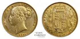 BRITISH GOLD SOVEREIGNS. Victoria, 1837-1901. Gold Sovereign, 1851, London. Shield. 8.00 g. 22.05 mm. Mintage: 4,013,624. Marsh 34; S.3852C. About ext...