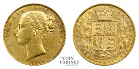BRITISH GOLD SOVEREIGNS. Victoria, 1837-1901. Gold Sovereign, 1870, London. Shield. 7.99 g. 22.05 mm. Mintage: 2,189,960. Marsh 54; S.3853B. Die numbe...