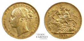 BRITISH GOLD SOVEREIGNS. Victoria, 1837-1901. Gold Sovereign, 1871, London. St George. 7.96 g. 22.05 mm. Marsh 84; S.3856A. Fine.