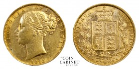 BRITISH GOLD SOVEREIGNS. Victoria, 1837-1901. Gold Sovereign, 1873, London. Shield. 8.00 g. 22.05 mm. Mintage: 1,478,000. Marsh 71; S.3855. Die number...