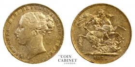 BRITISH GOLD SOVEREIGNS. Victoria, 1837-1901. Gold Sovereign, 1876, London. St George. 7.96 g. 22.05 mm. Mintage: 3,318,866. S.3856A; Marsh 88. St. Ge...