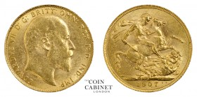 BRITISH GOLD SOVEREIGNS. Edward VII, 1901-10. Gold Sovereign, 1907, London. 8.01 g. 22.05 mm. Mintage: 18,458,663. S.3969. Almost uncirculated.