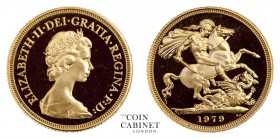 BRITISH GOLD SOVEREIGNS. Elizabeth II, 1952-. Gold Sovereign, 1979, London. Proof. 7.99 g. 22.05 mm. Mintage: 50,000. S.4204. Second, Arnold Machin ob...