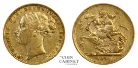 AUSTRALIAN GOLD SOVEREIGNS. Victoria, 1837-1901. Gold Sovereign, 1875-M, Melbourne. St George. 7.94 g. 22.05 mm. Mintage: 1,888,405. S.3858A, Marsh 11...
