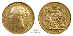 AUSTRALIAN GOLD SOVEREIGNS. Victoria, 1837-1901. Gold Sovereign, 1875-S, Sydney. St George. 7.94 g. 22.05 mm. Mintage: 2,122,000. Marsh 114; S.3858A. ...