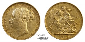 AUSTRALIAN GOLD SOVEREIGNS. Victoria, 1837-1901. Gold Sovereign, 1880-M, Melbourne. St George. 7.98 g. 22.05 mm. Mintage: 3,053,454. Marsh 102; S.3857...
