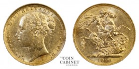 AUSTRALIAN GOLD SOVEREIGNS. Victoria, 1837-1901. Gold Sovereign, 1883-S, Sydney. St George. 8.00 g. 22.05 mm. Mintage: 1,108,000. S.3858E, Marsh 120. ...