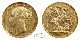 AUSTRALIAN GOLD SOVEREIGNS. Victoria, 1837-1901. Gold Sovereign, 1886-M, Melbourne. St George. 8.00 g. 22.05 mm. Mintage: 2,902,131. S.3857C; Marsh 10...