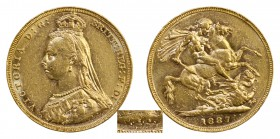 AUSTRALIAN GOLD SOVEREIGNS. Victoria, 1837-1901. Gold Sovereign, 1887-M, Melbourne. Jubilee-Small spread JEB. 8.00 g. 22.05 mm. Marsh 131A, S.3867. Go...
