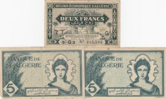 Algeria, 2 francs and 5 Francs (2), 1942 /1944, VF / XF, p99 / p91, (Total 3 banknotes)