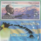 Antarctica, 1 Dollar and 5 Dollars, 2001-2007, UNC, (Total 2 banknotes)
