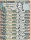 Bahamas, 50 Cents, 2001, UNC, p68, (Total 9 consecutive banknotes)