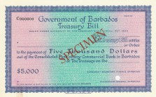 Barbados, 5.000 Dollars, AUNC-UNC, Act of 1922, SPECİMEN