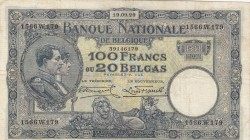 Belgium, 100 Francs or 20 Belgas, 1929, XF, p102