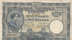 Belgium, 100 Francs or 20 Belgas, 1928, XF (-), p102