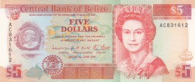 Belize, 5 Dollars, 1991, UNC, p53b