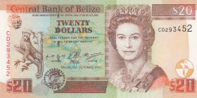 Belize, 20 Dollars, 2000, UNC, p63b