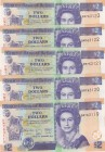 Belize, 2 Dollars, 2014, UNC, p66e, (Five consecutive banknotes)