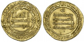 ABBASID, AL-MU'TADID (279-289h) Dinar, Nisibin 284h Weight: 4.76g References: Bernardi 211Hg Light crease, good very fine and extremely rare