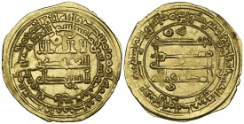 ABBASID, AL-MUKTAFI (289-295h) Dinar, Harran 293h Obverse: annulet in field above ilaha in first line Reverse: annulet in field to left of lillah in f...